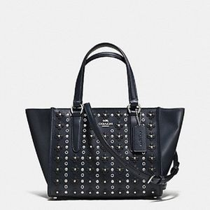 COACH 37703 Midnight Blue Leather Rivet Satchel